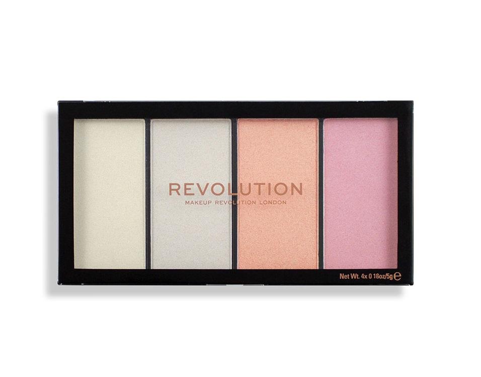 Купить MAKEUP REVOLUTION Хайлайтер для лица в палетке, 4 холодных оттенка / Reloaded Lustre Lights Cool