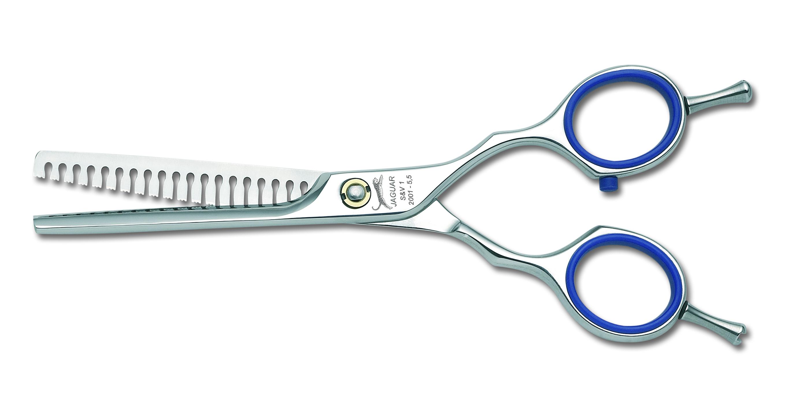 """JAGUAR Ножницы Jaguar S&amp;V 1 фил.5,5(14cm)GLНожницы <br>S&amp;amp;V 1, 5.5"""" = 14.0 cm Филировочные ножницы. Эргономичная форма. Глянцевая полировка. Призмовидные кончики зубцов гарантируют акцентированную и точную линию среза и особенно хорошо подходят для мягких контуров. Длинна полотен ножниц: 14 см.<br><br>Класс косметики: Профессиональная"""