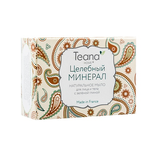TEANA Мыло натуральное с зеленой глиной для жирной и проблемной кожи лица и тела Целебный минерал 100 г