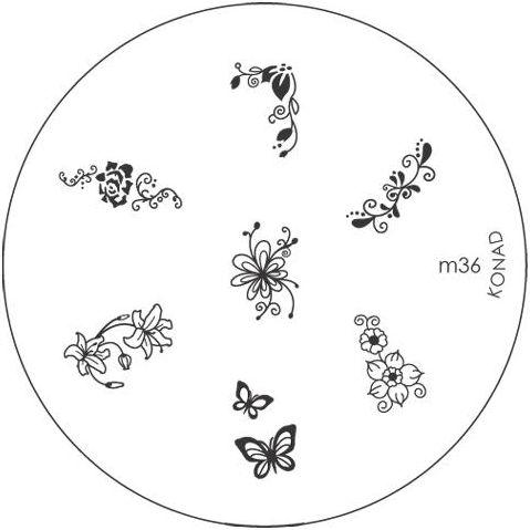 KONAD Форма печатная (диск с рисунками) / image plate M36 10грСтемпинг<br>Диск для стемпинга Конад М36 с очень красивыми цветами. Несколько видов изображений, с помощью которых вы сможете создать великолепные рисунки на ногтях, которые очень сложно создать вручную. Активные ингредиенты: сталь. Способ применения: нанесите специальный лак&amp;nbsp;на рисунок, снимите излишки скрайпером, перенесите рисунок сначала на штампик, а затем на ноготь и Ваш дизайн готов! Не переставайте удивлять себя и близких красотой и оригинальностью своего маникюра!<br>