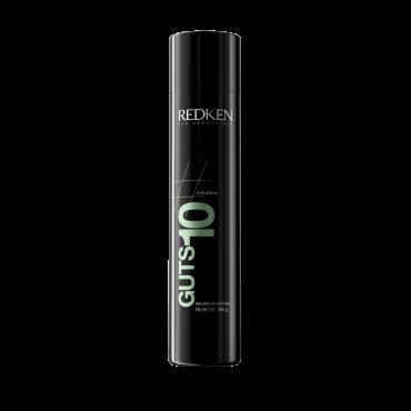 REDKEN Спрей-мусс для объема Гатс 10 300млМуссы<br>Redken Guts 10 - Спрей-мусс для объема - превосходное средство для укладки волос и придания ей фиксации средней силы. Дополнительный объем, натуральная и непринужденная подвижность волос, отсутствие склеивания и утяжеления прядей - это не единственные плюсы спрея от Редкен. Средство также способствует сохранности оптимального увлажнения и защиты от агрессивного влияния окружающих факторов среды. Ваши волосы будут здоровыми, пышными, блестящими и сильными!  Применение: Встряхните баллон со спреем-муссом до использования. Нанесите на влажные волосы. Сделайте укладку.<br><br>Объем: 300<br>Типы волос: Здоровые