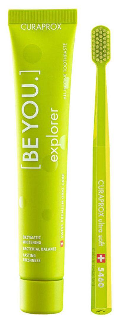 CURAPROX Набор салатовый (паста зубная Исследователь, яблоко-алоэ, 90 мл, + щетка зубная ультрамягкая CS5460) Be You Green set