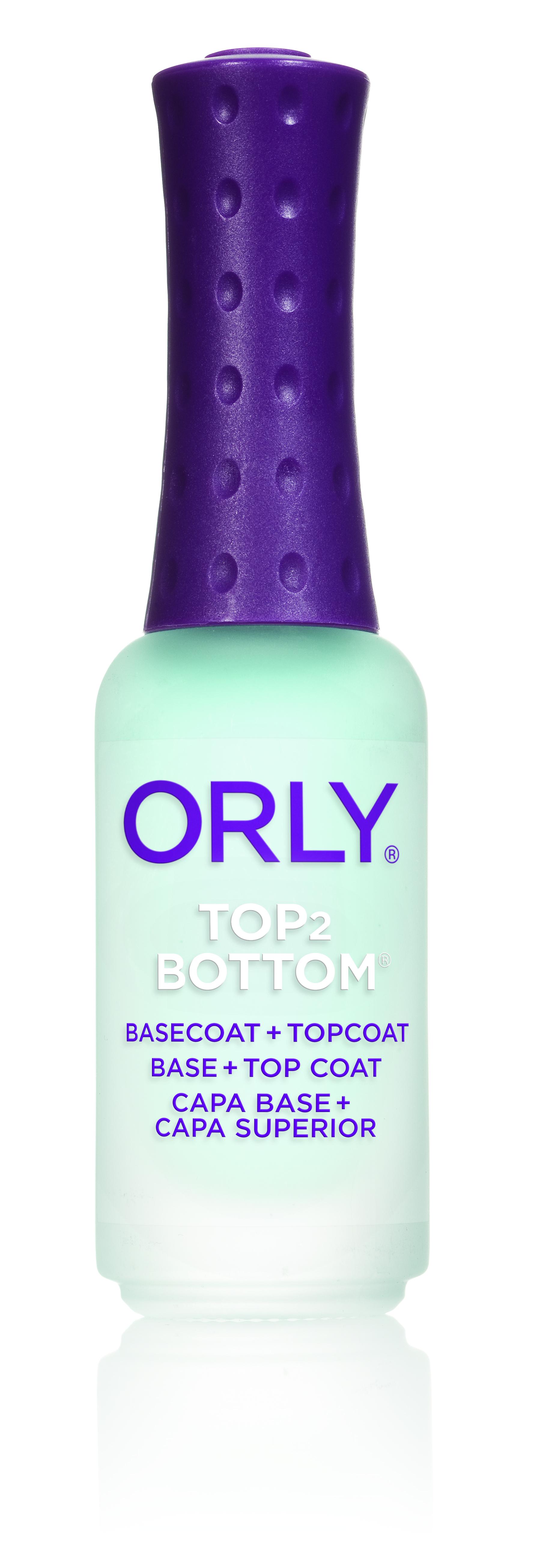 ORLY Покрытие базовое и верхнее для ногтей 2 в1 / Top 2 Bottom .3 oz 9млБазовые покрытия<br>Универсальный препарат Top2Bottom является одновременно базовым и верхним покрытием для ногтей. Он быстро высушивает лак и дарит покрытию дополнительный блеск и прочность. Способ применения: нанесите один слой Top2Bottom на обезжиренные ногти, затем покройте ногти лаком. Когда лак высохнет, нанесите еще один слой Top2Bottom. С чем использовать: применяйте Top2Bottom с Clean Prep для лучшего сцепления покрытия с ногтевой пластиной и для удаления с ногтей влаги и жира. Сушка-спрей Spritz Dry сократит высыхание лакового покрытия в 2 раза. Распылите её на покрытие с расстояния 15-20 см. после нанесения Top2Bottom. Активные ингредиенты.Состав: Бутилацетат, этилацетат, нитроцеллюлоза, адипиновая кислота/ неопентилгликоль/ тримеллитовый ангидрид сополимер, триметилпентанил диизобутират, изопропил, бензофенон   1, SDA-40B, CL 42090 (Blue 1), CL 47000 (Yellow 11).<br><br>Объем: 9 мл<br>Виды лака: Глянцевые