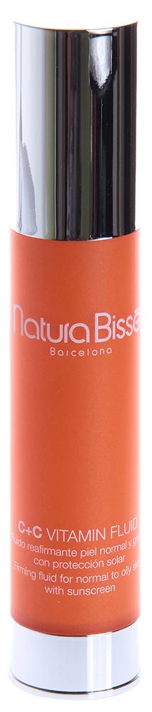 NATURA BISSE Эмульсия с витаминами для жирной и комбинированной кожи SPF10 / Fluid C+C VITAMIN 50млЭмульсии<br>C+C Vitamin Fluid   жидкость, не содержащая масел, предназначенная для восстановления упругости, эластичности и структуры жирной и комбинированной кожи. Эксклюзивная формула содержит 3% стабилизированного витамина С и витамин Е. Добавленный в формулу витамин Е способствует максимальному действию витамина С по предотвращению видимых признаков старения кожи. Высокоочищенные коллагеновые аминокислоты в свободной форме восстанавливают водный баланс и мягкость кожи. Для защиты от вредного воздействия солнечного излучения крем содержит солнечный фильтр SPF 10. Нейтрализует действие свободных радикалов, вызывающих разрушение клеток кожи. Стимулирует производство коллагена и ускоряет процессы регенерации. Восстанавливает и защищает кожу. Повышает эластичность. Увлажняет кожу. Активные ингредиенты (состав): Active Ingredients: Avobenzone, Homosalate, Octinoxate, Octocrylene. Ingredientes: Glycerin, Benzotriazolyl Dodecyl p-Cresol, Hydrolyzed Collagen, Anogeissus Leiocarpus Bark Extract, Helianthus Annuus (Sunflower) Seed Oil, Phospholipids, Prunus Amygdalus Dulcis (Sweet Almond) Oil, Glycereth-18 Ethylhexanoate, Tocopheryl Acetate, Ethylhexylglycerin, Glycereth-18, Sodium Acrylates Copolymer, Hydrogenated Polyisobutene, Polyglyceryl-10 Stearate, Glyceryl Stearate, Acrylamide/Ammonium Acrylate Copolymer , C20- 22 Alkyl Phosphate, C20-22 Alcohols, Cetyl Alcohol, Polyurethane-39, Cyclodextrin, Ascorbic Acid, Xanthan Gum, PEG-20 Palmitate, PEG-20 Myristate, Polyisobutene, Polysorbate 60, Sorbitan Stearate, Polysorbate 20, Ceteth-20, Steareth-20, PEG-75 Stearate, Triethanolamine, Citric Acid, Disodium EDTA, Tocopherol, Sodium Bisulfite, Benzoic Acid, Dehydroacetic Acid, Potassium Sorbate, Phenoxyethanol, Fragrance (Parfum), Limonene, Linalool, Amyl Cinnamal, Yellow 5 (CI 19140), Red 4 (CI 14700), Citrus Nobilis (Mandarin Orange) Oil, Citrus Aurantium Dulcis (Orange) Oil.