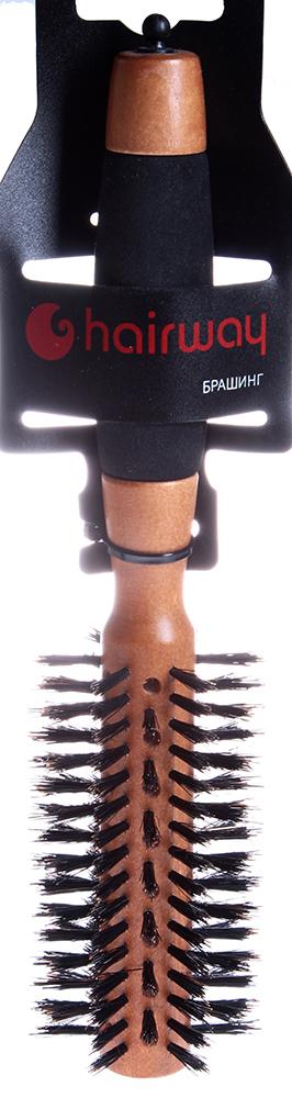HAIRWAY Брашинг AERO на дер. основе с натур. щетиной 50ммБрашинги<br>Брашинг на деревянной основе с натуральной щитиной и разделителем прядей. Продвинутая втулка. Полимерная ручка.<br>