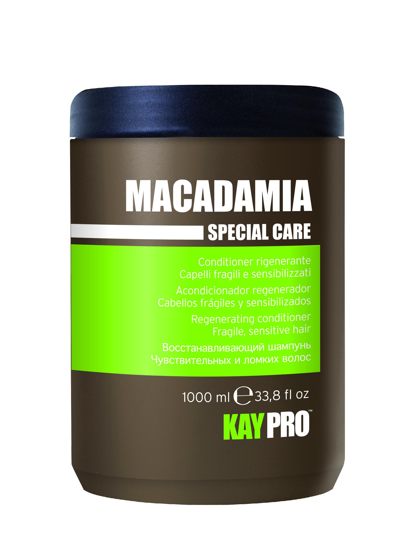 KAYPRO Кондиционер восстанавливающий с маслом макадами / KAYPRO 1000млКондиционеры<br>Сбалансированная формула распутывает и смягчает без утяжеления, придавая моментальный блеск и жизненную силу. Активные ингредиенты: масло макадамии. Способ применения: после использования шампуня равномерно нанести на влажные волосы равномерно по всей длине, затем расчесать, оставить действовать на 2-3 минуты, после чего смыть водой.<br><br>Объем: 1000 мл<br>Вид средства для волос: Восстанавливающий