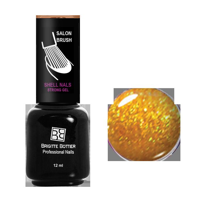 BRIGITTE BOTTIER 985 гель-лак для ногтей, желтое золото с мелкими блестками / Shell Nails 12 мл