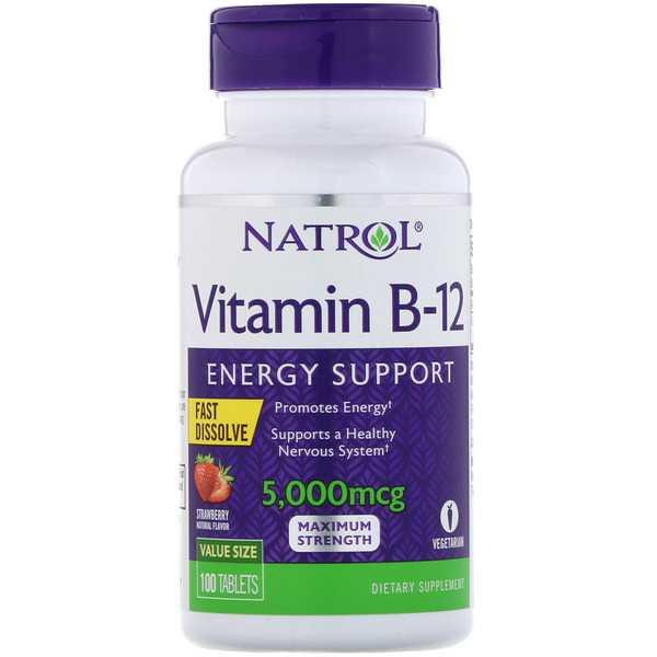 Купить NATROL Добавка биологически активная к пище VITAMIN B-12 FAST DISSOLVE 5000 mcg 100 быстрорастворимых таблеток