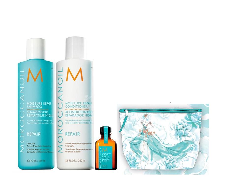MOROCCANOIL Набор для волос Восстановление (шампунь 250 мл, кондиционер 250 мл, средствово восстанавливающее 25 мл, косметичка) Moroccanoil