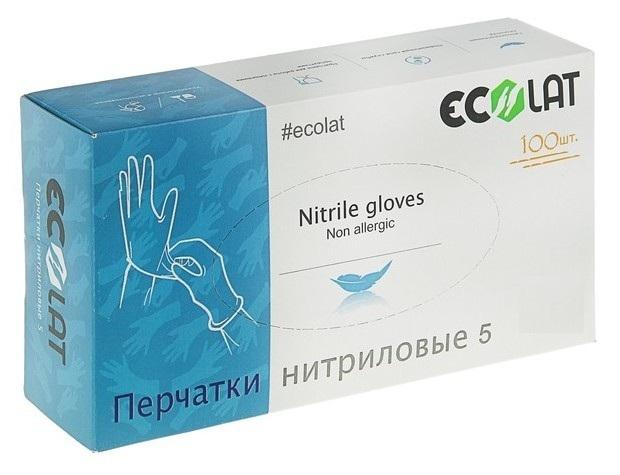 Купить ECOLAT Перчатки нитриловые, голубые, размер L / 5 EcoLat 100 шт