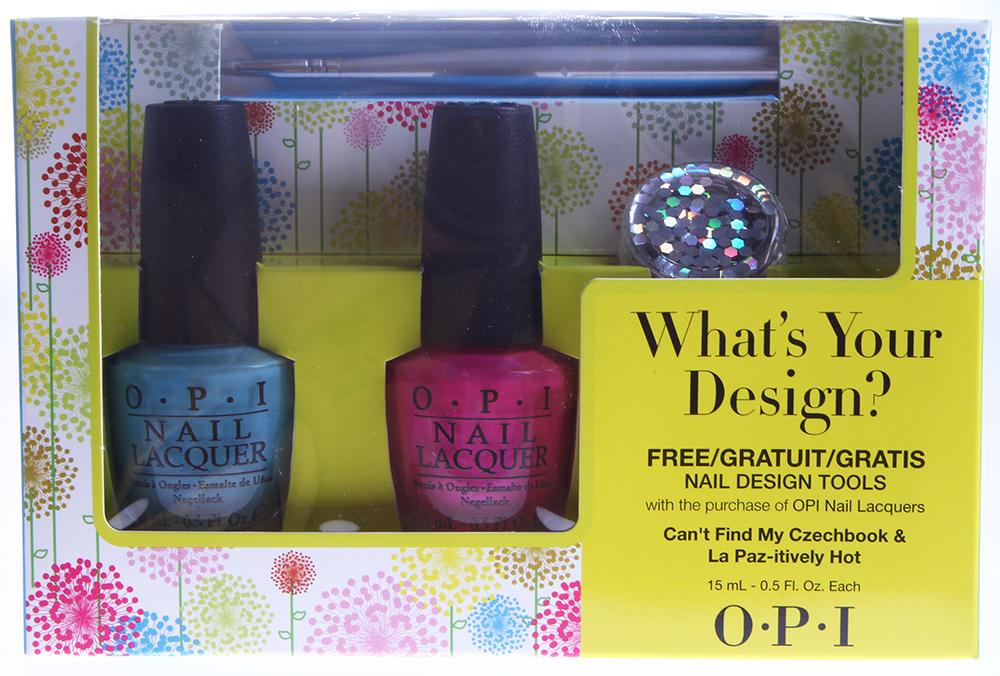 OPI Набор What s Your Design? (NLE75 + NLA20 + кисть для дизайна + блестки)Наборы <br>1- NLE75 &amp;ndash; Лак для ногтей Cant Find My Czechbook 1- NLA20   Лак для ногтей La Paz-itively Hot В подарок: Инструмент для дизайна и декоративные блестки<br><br>Виды лака: Глянцевые<br>Типы ногтей: Нормальные