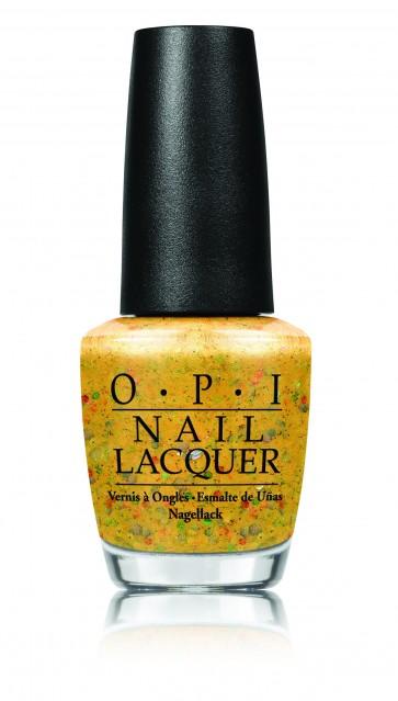 OPI Лак для ногтей Pineapples have Peelings / Hawaii Collection 15млЛаки<br>Pineapples Have Peelings Too! - золотой с разноцветными блестками &amp;#40;глиттер&amp;#41;.<br><br>Цвет: Желтые<br>Виды лака: С блестками