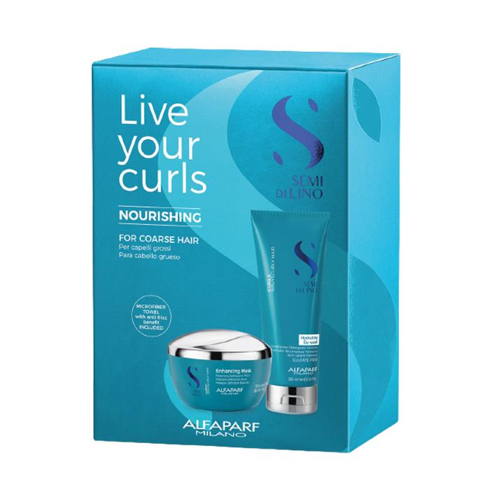 ALFAPARF MILANO Набор для вьющихся и кудрявых волос (кондиционер 200, маска 200 мл, полотенце) SDL CURLY-KIT LIVE YOUR CURLS NOURISHING