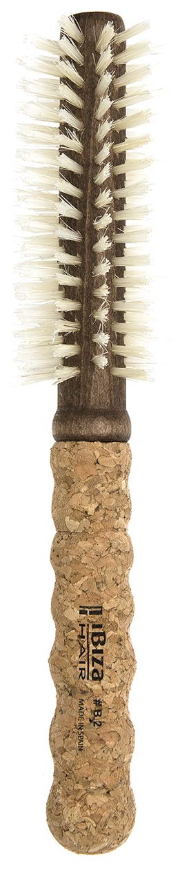 IBIZA HAIR Щетка круглая для укладки волос, осветленная щетина, диаметр 35 мм (пробка) - Брашинги