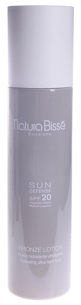 NATURA BISSE Лосьон солнцезащитный ультралегкий SPF20 / Bronze Lotion SUN DEFENSE 200млЛосьоны<br>Bronze Lotion SPF 20   освежающий легкий лосьон для глубокого увлажнения кожи. Прекрасно подходит для всех типов кожи, особенно для ухода за смешанной и жирной. Лосьон содержит активные компоненты, которые стимулируют продукцию меланина для получения ровного, красивого загара. Bronze Lotion SPF 20 защищает от UVA/UVB лучей, нейтрализует действие свободных радикалов, легко наносится и быстро впитывается. Способ применения: наносить на сухую кожу за 30 минут до выхода на солнце. Повторять нанесение по необходимости, особенно при частом купании и сильном потоотделении. Избегать попадания в глаза и на слизистые оболочки.<br><br>Объем: 200<br>Защита от солнца: None