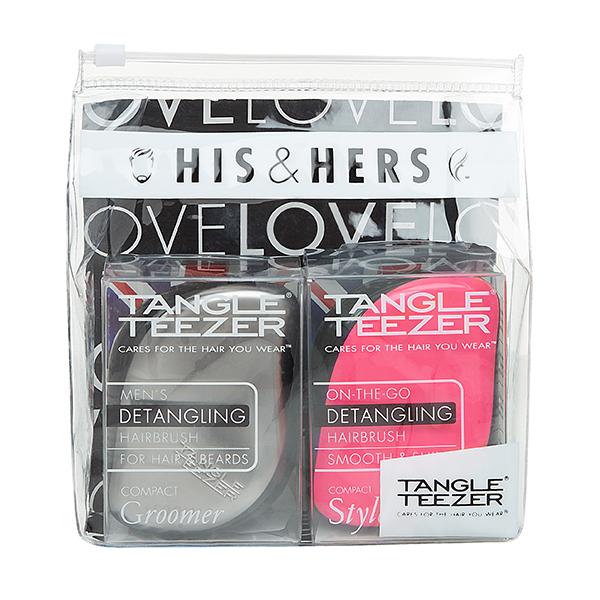 TANGLE TEEZER Набор расчесок для волос / Tangle Teezer Compact Styler His&amp;HersРасчески<br>Профессиональная распутывающая расческа Tangle Teezer идеально подходит для всех типов волос. Оригинальная форма зубчиков обеспечивает двойное действие и позволяет расчесать сухие и влажные волосы легко и быстро, без рывков и усилий. Благодаря эргономичной форме расчёска удобно ложится в ладонь, позволяя более творчески подойти к процессу укладки. Активные ингредиенты. Состав: гипоаллергенный пластик.<br>