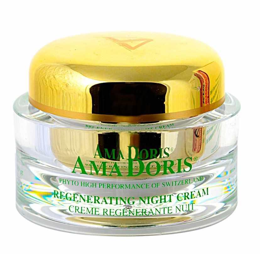 AMADORIS Крем регенерирующий ночной 50млКремы<br>Регенерирующий ночной крем для смешанной и жирной кожи. Состоит из компонентов растительного и биотехнологического происхождения, предотвращающих проблемы, возникающие при чрезмерной жирности кожи. Этот замечательный крем, питающий эпидермис и насыщающий его витаминами, поможет Вам вернуть здоровый натуральный вид Вашей кожи. Успокаивает раздражения и придает лучистый оттенок цвету лица.  Активные ингредиенты: Пререген, Иммусель, Гуалуроновая кислота, Фукогель, Д-Пантенол, Пентавитин, Витамины А, Е, Каррагенан, Экстракты: алоэ-вера, эдельвейса, женьшеня.  Способ применения: Наносить вечером на очищенную кожу лица и аккуратно похлопывать до полного впитывания в кожу.<br><br>Время применения: Ночной