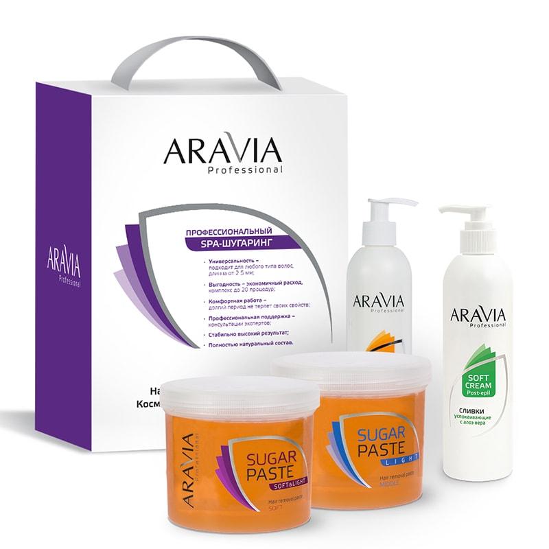ARAVIA Набор 3+1 №3 Промо для депиляции (сахарная паста 2*750 мл, гель 300 подарок: сливки мл) / Professional