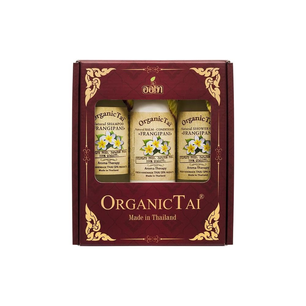 цена на ORGANIC TAI Набор для волос Франжипани (шампунь 260 мл, бальзам-кондиционер 260 мл, гель для душа 260 мл) OrganicTai