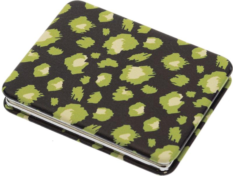 DEWAL BEAUTY Зеркало Дикая природа карманное, прямоугольное, зеленый леопард 5,5х1x7 см