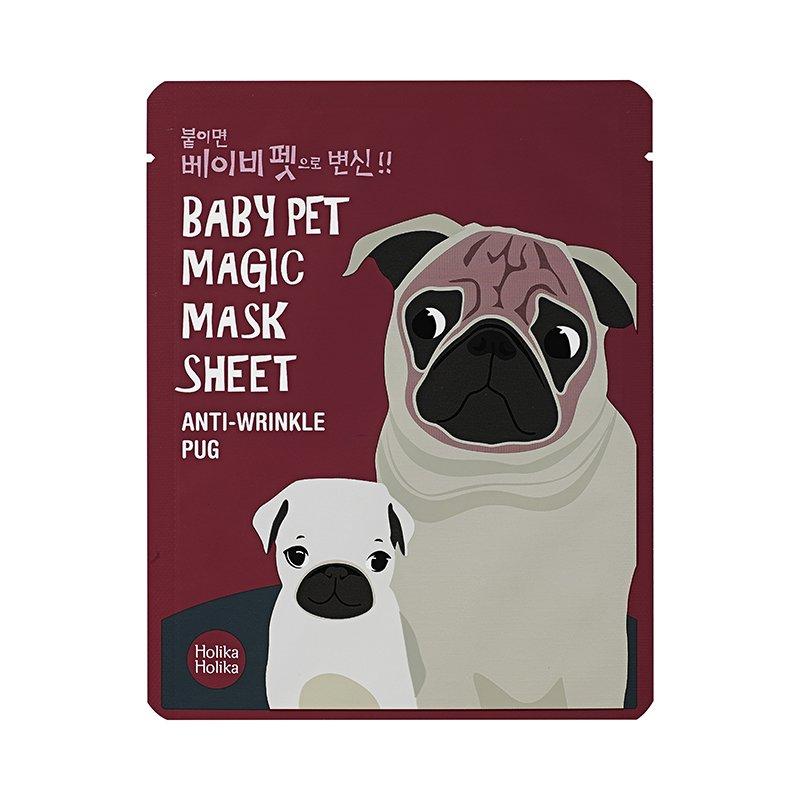 HOLIKA HOLIKA Маска-мордочка тканевая омолаживающая (мопс) & Бэби Пэт Мэджик&  / Baby Pet Magic Mask Sheet Anti-wrinkle Pug 22мл -  Маски