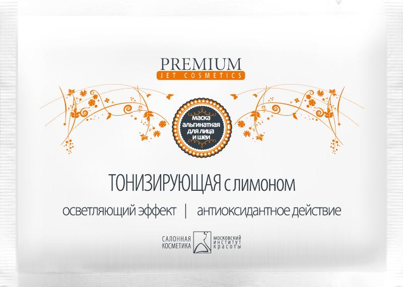PREMIUM Маска альгинатная с лимоном Тонизирующая / Jet cosmetics 25грМаски<br>Альгинатная маска для всех типов кожи. Содержит измельченный высушенный порошок плодов и семян лимона, богатый витаминами С, В, Р. Позволяет повысить тонус кожи, обеспечивая улучшение кровообращения и усиления обмена веществ. Активные ингредиенты: диатомовые водоросли, лимон, маисовый крахмал. Способ применения: содержимое пакетика развести водой до кашеобразного состояния, наложить на лицо плотным слоем с чёткими границами на 15-20 мин. Эластичная резиновая маска легко снимается одним движением после процедуры.<br><br>Объем: 25<br>Вид средства для лица: Альгинатная