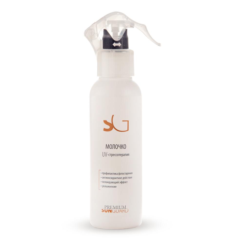 PREMIUM Молочко UV-стрессотерапия / Sunguard 150млМолочко<br>Молочко восстанавливает функциональные свойства кожи после воздействия УФ-лучей, ветра, пыли и других факторов внешней среды, нарушающих обменные процессы в коже. Успокаивает кожу. Восполняет дефицит влаги, церамидов, липидов и ненасыщенных жирных кислот. Предохраняет чувствительную кожу от раздражения. Способствует сохранению эластичности кожи. Оказывает антиоксидантный эффект. Приятно охлаждает кожу. Средство быстрого и эффективного снятия кожного стресса после принятия солнечных ванн. Может рекомендоваться для ухода за кожей после сауны и бассейна, а также для ежедневного применения для кожи тела, склонной к сухости. Активные ингредиенты: Luremin, альфа-бисаболол, витамины А и Е, ментиллактат. Состав: вода очищенная, D.C. HWM 2220  (дивинилдиметикон/ диметикон сополимер, С12-С13 парет-3, С12-С13 парет-23), глицерин, ПЭГ-40 гидрогенизированного касторового масла, дигидроксиметилхромон и сорбитол, пропиленгликоль, ментил лактат, отдушка, метилизотиазолинон, йодопропинилбутилкарбамат, бисаболол, токоферил ацетат, ретинил пальмитат. Способ применения: распылить на кожу лица и тела, затем равномерно распределить до полного впитывания.<br>