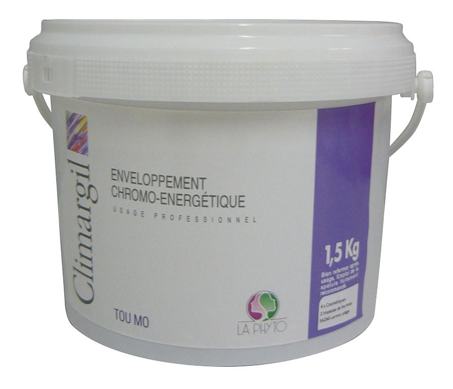 LA PHYTO Глина для лица, тела и волос Фиолетовая / Tou-mo Violet CLIMARGIL 1500 грГлины<br>Глина для лица и тела Фиолетовая - антистресс, успокаивающая, снимает раздражение. Помогает осуществлять все жизненные функции (регенерация, (восстановление), ассимиляция (усвоение), очищение (выведение)) организма и поддерживает нервную систему. Активные ингредиенты: глина, эфирные масла сосны, лаванды, розмарина, майорана, лимона, апельсина и экстракты черной смородины, конского каштана, гамамелиса, огуречника и артишока. Способ применения: нанести глину на все тело и/или лицо, рефлекторные зоны, энергетические меридианы согласно протокола процедуры. Время воздействия   около 15 минут. Смыть. В домашних условиях можно использовать в качестве масок и обертываний, а также для умывания (нанести на лицо и шею мягкими круговыми движениями, смыть теплой водой).<br><br>Типы кожи: Для всех типов<br>Типы волос: Для всех типов