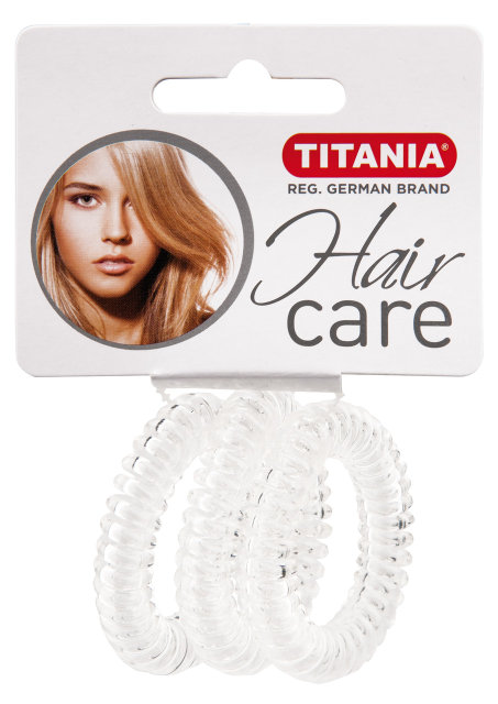TITANIA Резинки для волос, прозрачные пружина 4 см 3 шт/уп 7919