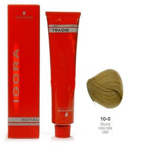 SCHWARZKOPF PROFESSIONAL 10-0 краска для волос / Игора Роял 60млКраски<br>IGORA Royal Colorist`s Color Creme - уникальный комплекс, состоящий из высокоэффективных микрочастиц, которые легко проникают внутрь волоса и отлично закрепляются по принципу магнита, формируя окончательный цветовой пигмент во время процесса окисления. Результат - отличное покрытие седины и интенсивный насыщенный цвет на длительное время. Ухаживающие протеины масла дерева Moringa Oleifera, содержащиеся в крем краске, укрепляют структуру волоса, защищают волосы от загрязнений окружающей среды и UV-излучения. Свежий косметический аромат, роскошная палитра нюансов, а также легкость в применении - все это позволяет достигать результатов самого высокого уровня.<br><br>Цвет: Блонд<br>Объем: 60<br>Класс косметики: Косметическая