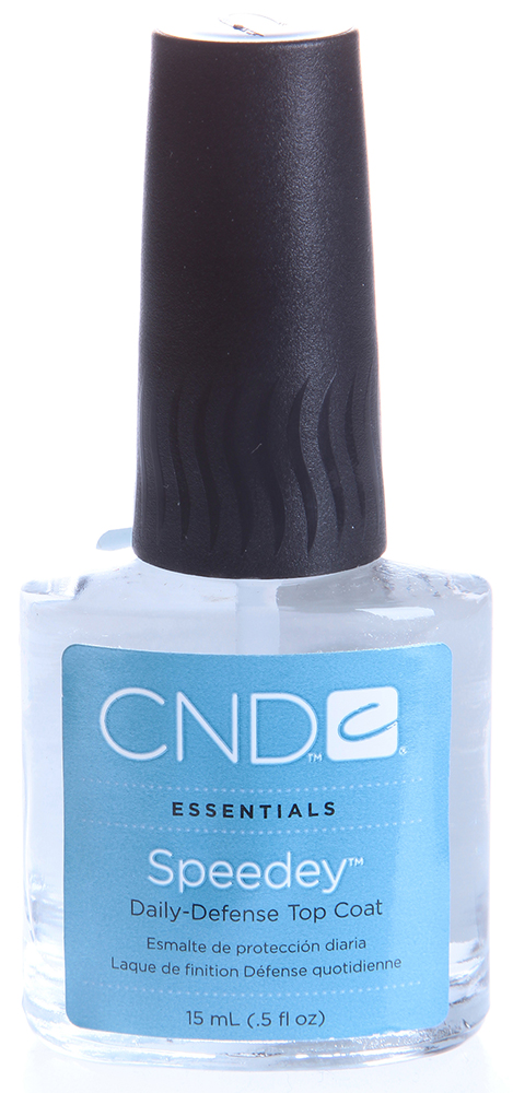 CND Покрытие тонкое быстросохнущее / Speedey 15млСушки<br>Быстросохнущее верхнее покрытие, создающее тонкую защитную пленку на ногте. Препарат также является ультрафиолетовым протектором и предотвращает выгорание лака. Помогает сэкономить время при выполнении дизайна, быстро высушивая верхний слой покрытия. Рекомендуется для профессионального и домашнего использования.<br><br>Объем: 15
