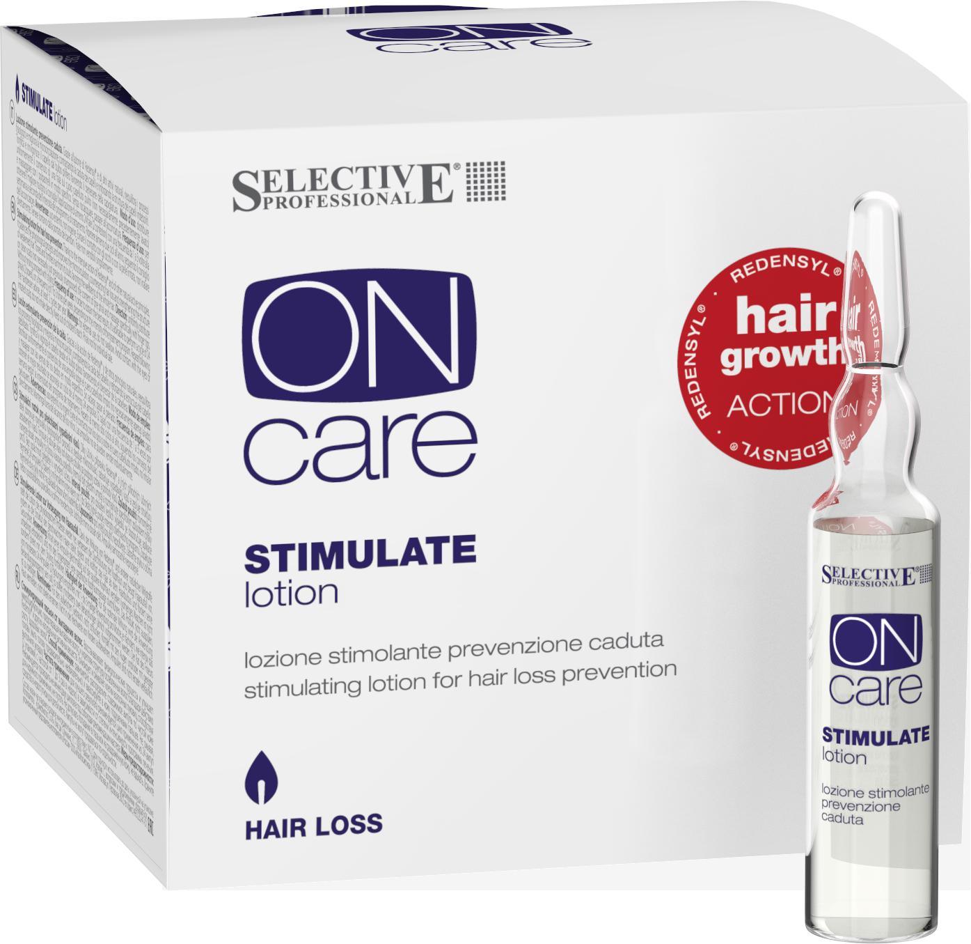 SELECTIVE PROFESSIONAL Лосьон стимулирующий от выпадения волос / On Care Hair Loss 12*6 млЛосьоны<br>Восстанавливает физиологические процессы и улучшает микроциркуляцию, предотвращая выпадение волос и укрепляя структуру ослабленных волос благодаря специальным ценным активным веществам. Тонизирует и оживляет клетки волосяных луковиц, способствуя росту здоровых волос. Активные ингредиенты: Redensyl® - это запатентованный ингредиент, состоящий из 4 основынх моллекул (DHQG, EGCG2, глицина и цинка), способных активировать рост волос и уменьшить потерю всего за 84 дня.<br><br>Назначение: Выпадение