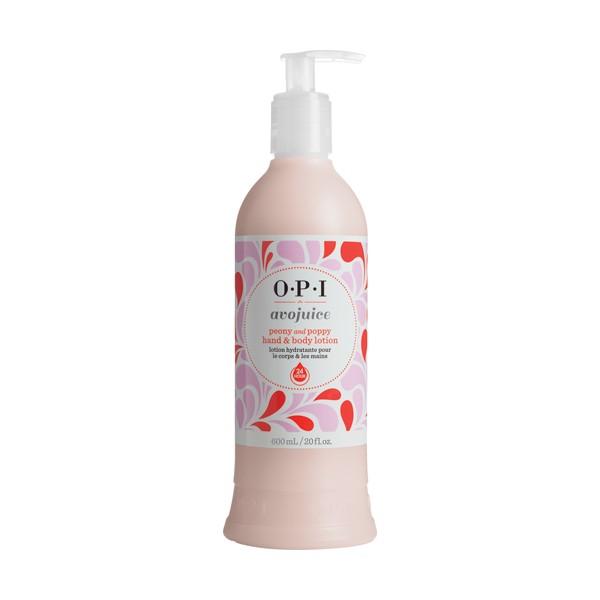 OPI Лосьон для рук Пион и мак / AVOJUICE 600млЛосьоны<br>Лосьоны Аводжус обеспечат необходимый тонус вашей коже и защиту от токсинов на весь день. Натуральные фруктовые и растительные экстракты мгновенно увлажняют и питают кожу, витамины-антиоксиданты предотвращают ее старение. Формула лосьона быстро абсорбируется поверхностью кожи, делая ее шелковистой и мягкой.<br><br>Назначение: Старение