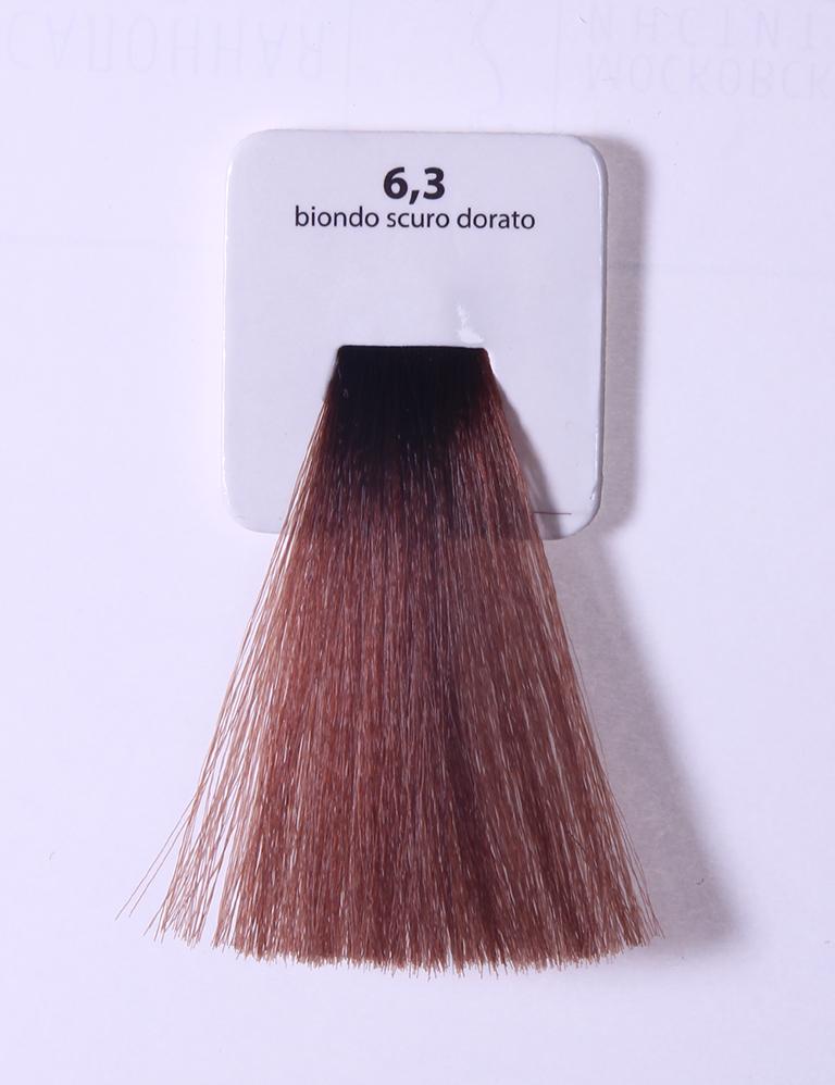 KAARAL 6.3 краска для волос / Sense COLOURS 100млКраски<br>6.3 темный золотистый блондин Перманентные красители. Классический перманентный краситель бизнес класса. Обладает высокой покрывающей способностью. Содержит алоэ вера, оказывающее мощное увлажняющее действие, кокосовое масло для дополнительной защиты волос и кожи головы от агрессивного воздействия химических агентов красителя и провитамин В5 для поддержания внутренней структуры волоса. При соблюдении правильной технологии окрашивания гарантировано 100% окрашивание седых волос. Палитра включает 93 классических оттенка. Способ применения: Приготовление: смешивается с окислителем OXI Plus 6, 10, 20, 30 или 40 Vol в пропорции 1:1 (60 г красителя + 60 г окислителя). Суперосветляющие оттенки смешиваются с окислителями OXI Plus 40 Vol в пропорции 1:2. Для тонирования волос краситель используется с окислителем OXI Plus 6Vol в различных пропорциях в зависимости от желаемого результата. Нанесение: провести тест на чувствительность. Для предотвращения окрашивания кожи при работе с темными оттенками перед нанесением красителя обработать краевую линию роста волос защитным кремом Вaco. ПЕРВИЧНОЕ ОКРАШИВАНИЕ Нанести краситель сначала по длине волос и на кончики, отступив 1-2 см от прикорневой части волос, затем нанести состав на прикорневую часть. ВТОРИЧНОЕ ОКРАШИВАНИЕ Нанести состав сначала на прикорневую часть волос. Затем для обновления цвета ранее окрашенных волос нанести безаммиачный краситель Easy Soft. Время выдержки: 35 минут. Корректоры Sense. Используются для коррекции цвета, усиления яркости оттенков, создания новых цветовых нюансов, а также для нейтрализации нежелательных оттенков по законам хроматического круга. Содержат аммиак и могут использоваться самостоятельно. Оттенки: T-AG - серебристо-серый, T-M - фиолетовый, T-B - синий, T-RO - красный, T-D - золотистый, 0.00 - нейтральный. Способ применения: для усиления или коррекции цвета волос от 2 до 6 уровней цвета корректоры добавляются в краситель по Правилу п