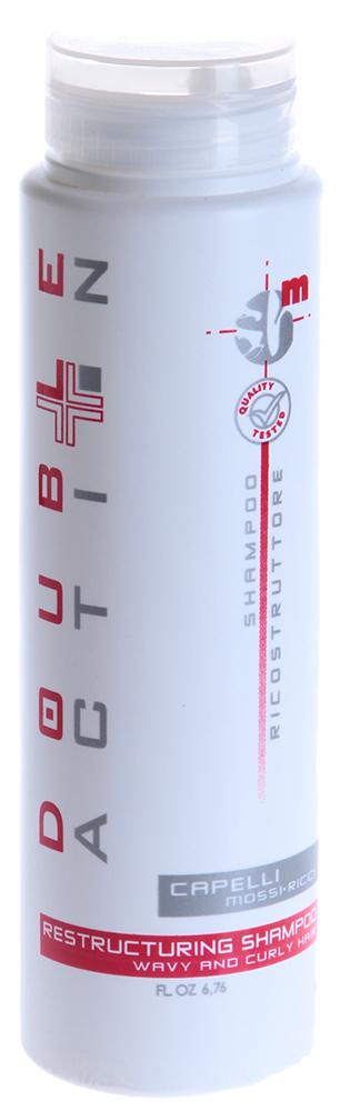 HAIR COMPANY Шампунь восстанавливающий для кудрявых волос / Shampoo Capelli Mossi-Ricci DOUBLE ACTION 200млШампуни<br>Специальный восстанавливающий (реконструирующий) шампунь для волос с натуральным или химическим завитком Hair Company серии Double Action. Идеальное средство для волос, нуждающихся в сильном восстановительном эффекте. Незаменим для ухода за волосами в сильном стрессовом состоянии. Мягко очищает и нормализует уровень РН, приводит в норму уровень липидов и гидробаланс. Придает волосам дополнительный блеск и гладкость. Активные компоненты продукта: гидролизированные протеины пшеницы для питания и восстановления, полиамин выступает как кондиционирующее средство, креатин дает восстановление, защиту и дополнительную эластичность. Активный состав: Гидролизированные протеины пшеницы, полиамин, креатин. Применение: Нанести на влажные волосы, взбить в крепкую пену, оставить на волосах на 3-5 минут. При необходимости повторить процедуру.<br><br>Объем: 200<br>Вид средства для волос: Восстанавливающий<br>Типы волос: Кудрявые