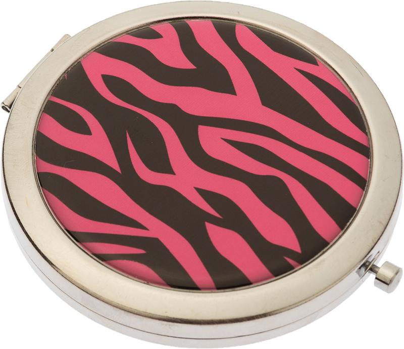 DEWAL BEAUTY Зеркало Дикая природа карманное, круглое, розовый тигр, d 7 см