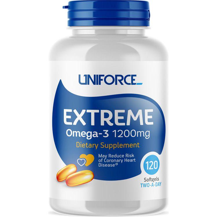 UNIFORCE Добавка биологически активная к пище / Extreme Omega-3 1200 мг 120 капсул  - Купить