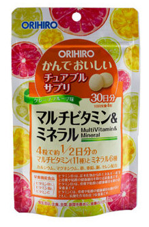 ORIHIRO Мультивитамины и минералы со вкусом тропических фруктов, таблетки 120 шт