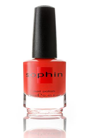 SOPHIN Лак для ногтей, красно-оранжевый 12млЛаки<br>Коллекция лаков SOPHIN очень разнообразна и соответствует современным веяньям моды. Огромное количество цветов и оттенков дает возможность создать законченный образ на любой вкус. Удобный колпачок не скользит в руках, что облегчает и позволяет контролировать процесс нанесения лака. Флакон очень эргономичен, лак легко стекает по стенкам сосуда во внутреннюю чашу, что позволяет расходовать его полностью. И что самое главное - форма флакона позволяет сохранять однородность лаков с блестками, глиттером, перламутром. Кисть средней жесткости из натурального волоса обеспечивает легкое, ровное и гладкое нанесение. Красно-оранжевый лак желейной текстуры с содержанием очень мелкого серебристого шиммера&amp;nbsp; Идеален при нанесении в два слоя&amp;nbsp; Глянцевый финиш big5free Активные ингредиенты. Состав: ethyl acetate, butyl acetate, nitrocellulose, acetyl tributyl citrate, isopropyl alcohol, adipic acid/neopentyl glycol/trimellitic anhydride copolymer, stearalkonium bentonite, n-butyl alcohol, styrene/acrylates copolymer, silica, benzophenone-1, trimethylpentanedyl dibenzoate, polyvinyl butyral.<br><br>Цвет: Красные<br>Виды лака: Глянцевые