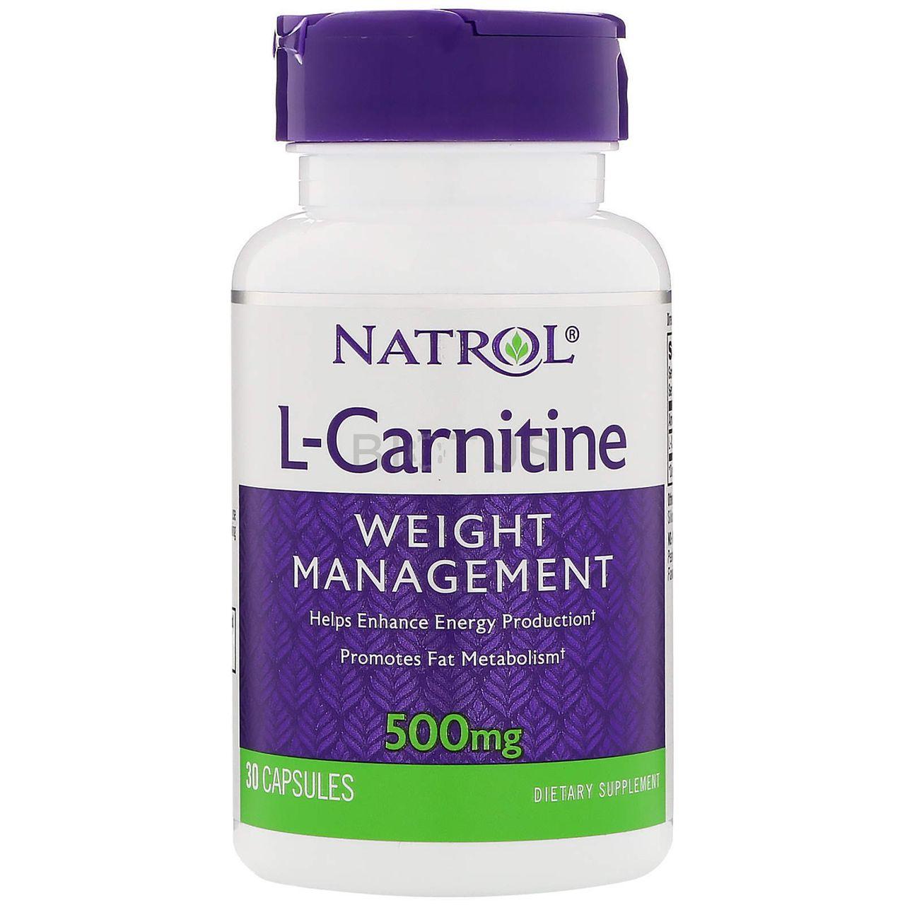 Купить NATROL Добавка биологически активная к пище Натрол L-Карнитин / L-Carnitine 500 мг 30 капсул