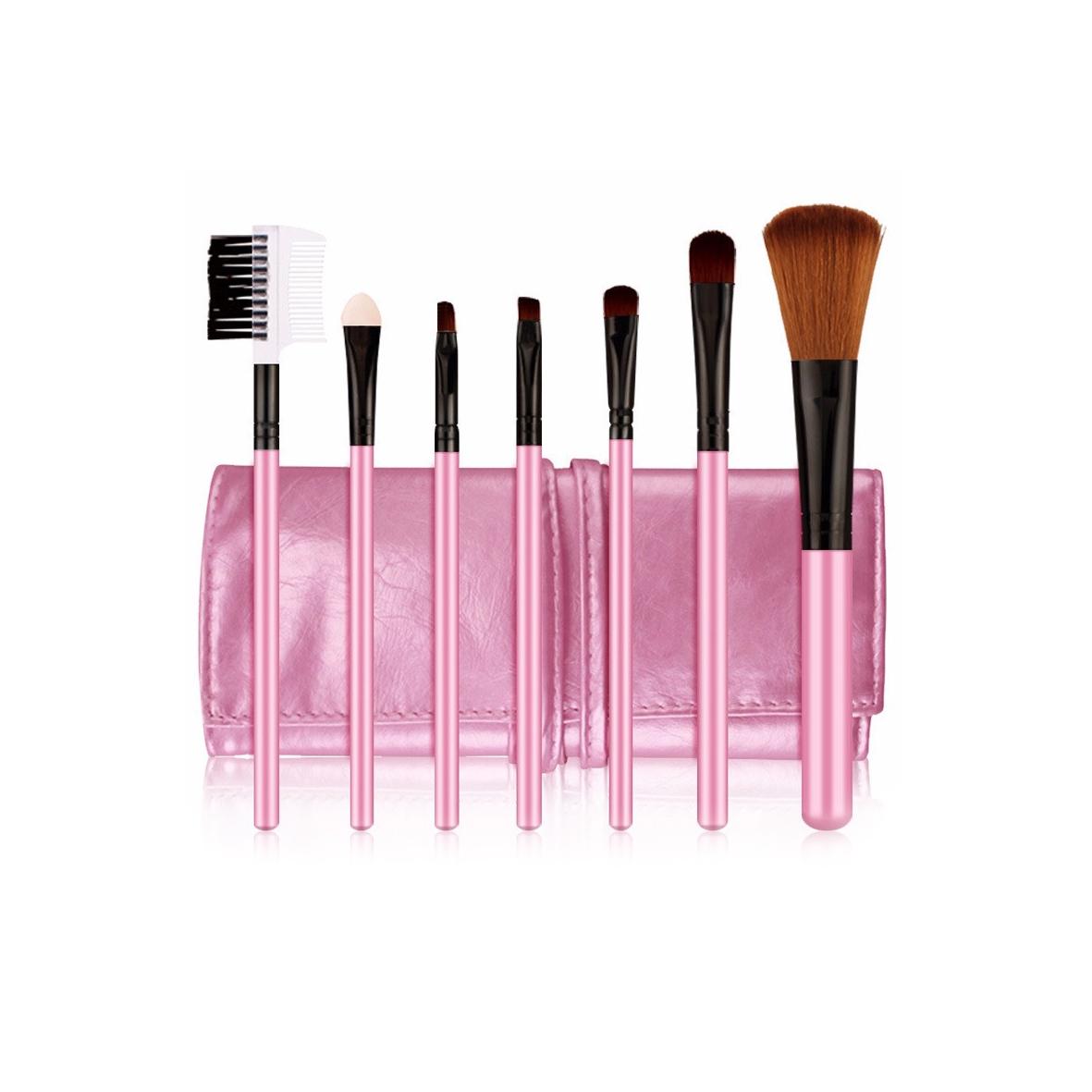 POSH Набор кистей для профессионального макияжа (волокно кинеколон), розовый кожаный чехол 7 шт
