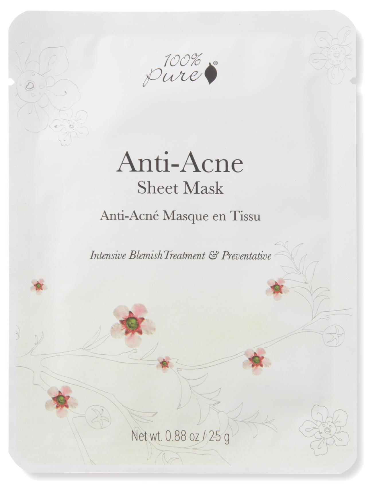 100% PURE Маска тканевая для лица Анти-акне 25 г