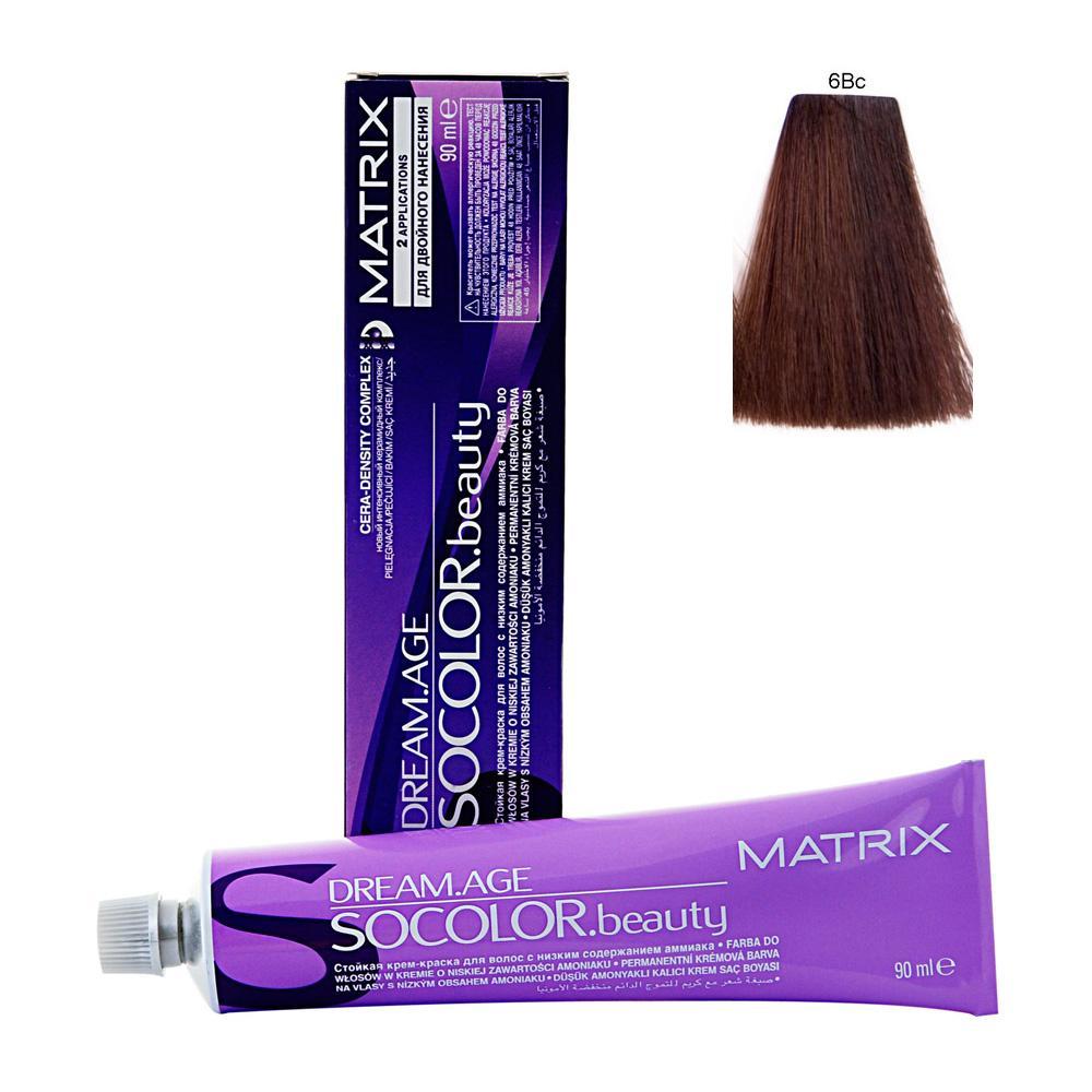 MATRIX 6BC краска для волос / СОКОЛОР БЬЮТИ D-AGE 90млКраски<br>Крем-краска Dream Age специально разработана для проведения окрашивания седых волос. Оттенки для волос с содержанием седины более 50%. Применение запатентованной технологии ColorGrip обеспечивает четкий и яркий оттенок, благодаря самонастраивающимся красителям, которые взаимодействуют с натуральным пигментом волоса. Также в состав краски входит кондиционер Cera-Oil, что обеспечивает бережных уход, укрепляет и питает структуру волос. Крем-краска удобно наносится и обладает приятным фруктовым ароматом. Богатый пигментами краситель: 100% закрашивание седины Мультирефлективный цвет Формула с низким содержанием аммиака Технология Pre-Softenung смягчает резистентный седой волос перед окрашиванием Не нужно смешивать с другими оттенками Используется с 6% Крем-Оксидантом Способ применения: смешайте краску с активатором в нужных пропорциях, после чего нанесите смесь на волосы и оставьте на 20-45 минут. После процедуры тщательно смойте краску теплой водой и высушите волосы полотенцем.<br><br>Цвет: Блонд<br>Объем: 60