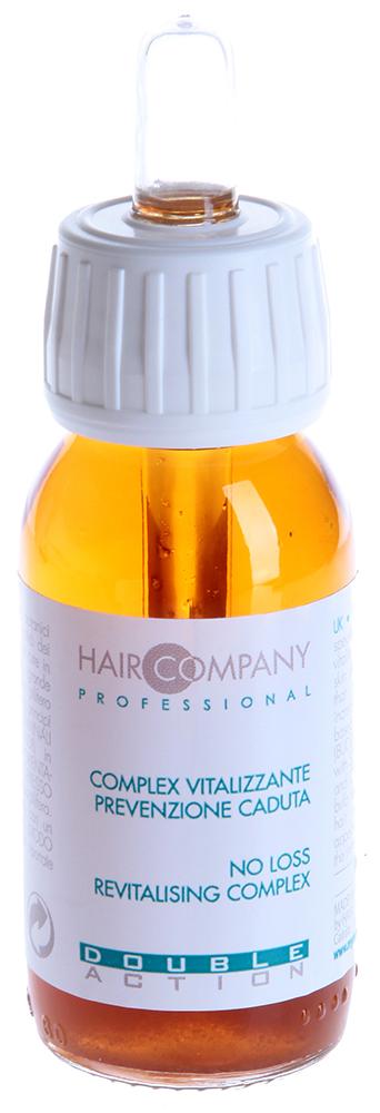 HAIR COMPANY Комплекс против выпадения волос / No loss revitalising complex DOUBLE ACTION 60мл~Концентраты<br>Глубоко очищает кожу, выводя токсины и стимулируя к росту волосяную луковицу. Волосы приобретают более здоровый вид, повышается тонус и устойчивость к неблагоприятным внешним воздействиям. Комплекс в своей основе содержит стволовые клетки растительного происхождения Будлея Давида и растительные экстракты имбиря, японской софоры, инозитола, ягод кипариса, нацеленные на повышение тонуса и стимуляцию роста волос. Активные ингредиенты: Стволовые клетки растительного происхождения Будлея Давида, растительные экстракты имбиря, японской софоры, инозитола, ягод кипариса. Способ применения: Смешать 10 гр Моющей основы с 1 гр (1/3 части пипетки) Комплекса Double Action хорошо перемешать. Нанести при помощи кисточки на кожу и влажные волосы, деликатно намылить и оставить на 3-5 минут для воздействия, ополоснуть водой. При необходимости повторить. Для эффективной &amp;laquo;шоковой&amp;raquo; терапии использовать в сочетании с Лосьоном против выпадения волос No Loss Revitalising Complex от Double Action.<br><br>Объем: 60<br>Назначение: Выпадение