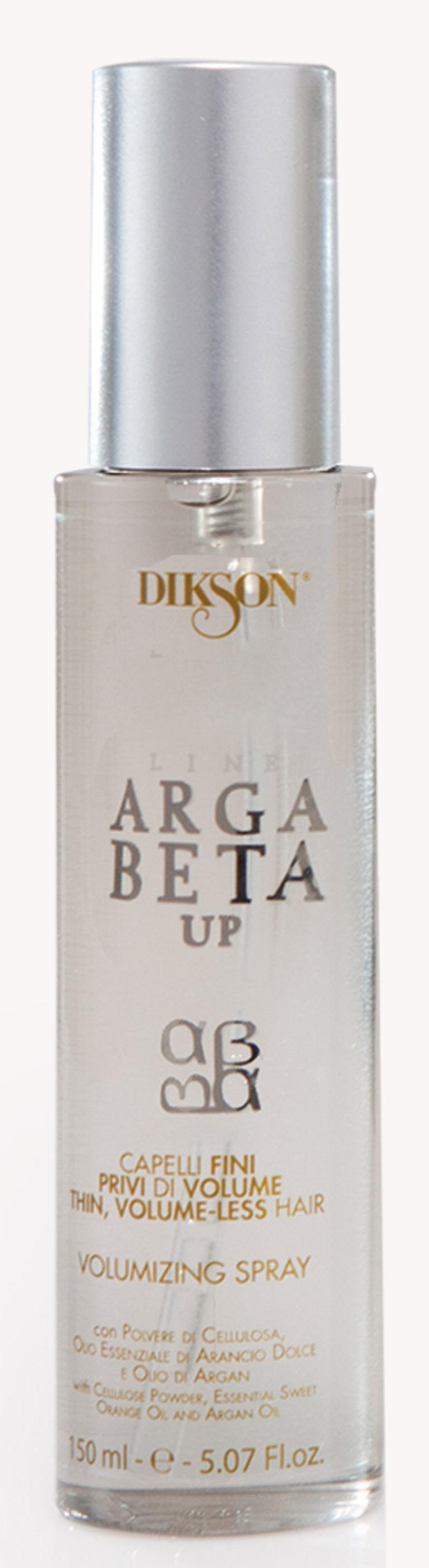 DIKSON Спрей для объема для тонких волос / ARGABETA UP Capelli Di Volume 150млСпреи<br>Благодаря синергетическому взаимодействию целлюлозного порошка, эфирного масла сладкого Апельсина и Арганового масла придает дополнительный объем и улучшает текстуру тонких, редких и ослабленных волос. Система ультратонкого и однородного распыления спрея позволяет не утяжелять волосы, восстанавливая их структуру и объем, делая их пышными, красивыми и блестящими. Активные ингредиенты: целлюлозный порошок, эфирное масло сладкого апельсина и масло Арганы. Способ применения: перед сушкой равномерно распылить спрей на тонкие и лишенные объема волосы, в зависимости от длины (3 - 6 распылений).<br><br>Тип: порошок<br>Объем: 150 мл