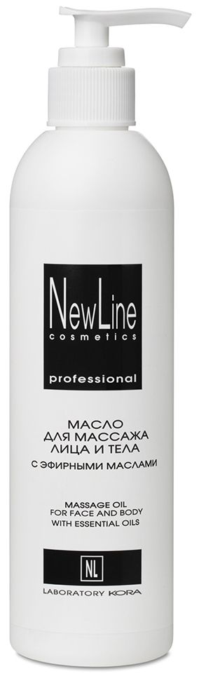 NEW LINE PROFESSIONAL Масло с эфирными маслами для массажа лица и тела, с дозатором 300 мл
