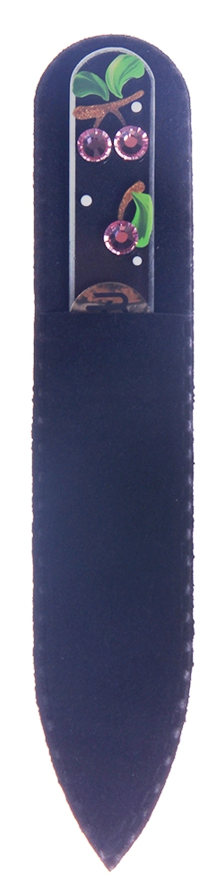 BOHEMIA PROFESSIONAL Пилочка стеклянная прозрачная Вишенки 90ммПилки для ногтей<br>Нет ничего лучше для натуральных ногтей, чем пилка из богемского хрусталя. Данный материал имеет практически неограниченный срок использования. Пилки Bohemia Professional имеют наиболее стойкий абразив. Пилка из богемского хрусталя также может стать стильным аксессуаром или красивым подарком. Bohemia Professional представляет Вам огромный выбор прозрачных и цветных пилок с декором: ручная роспись, декорация стразами, пилки с логотипом, и полноцветные изображения. Инструмент можно стерилизовать и обрабатывать химическими дезинфекторами, антисептиками.<br>