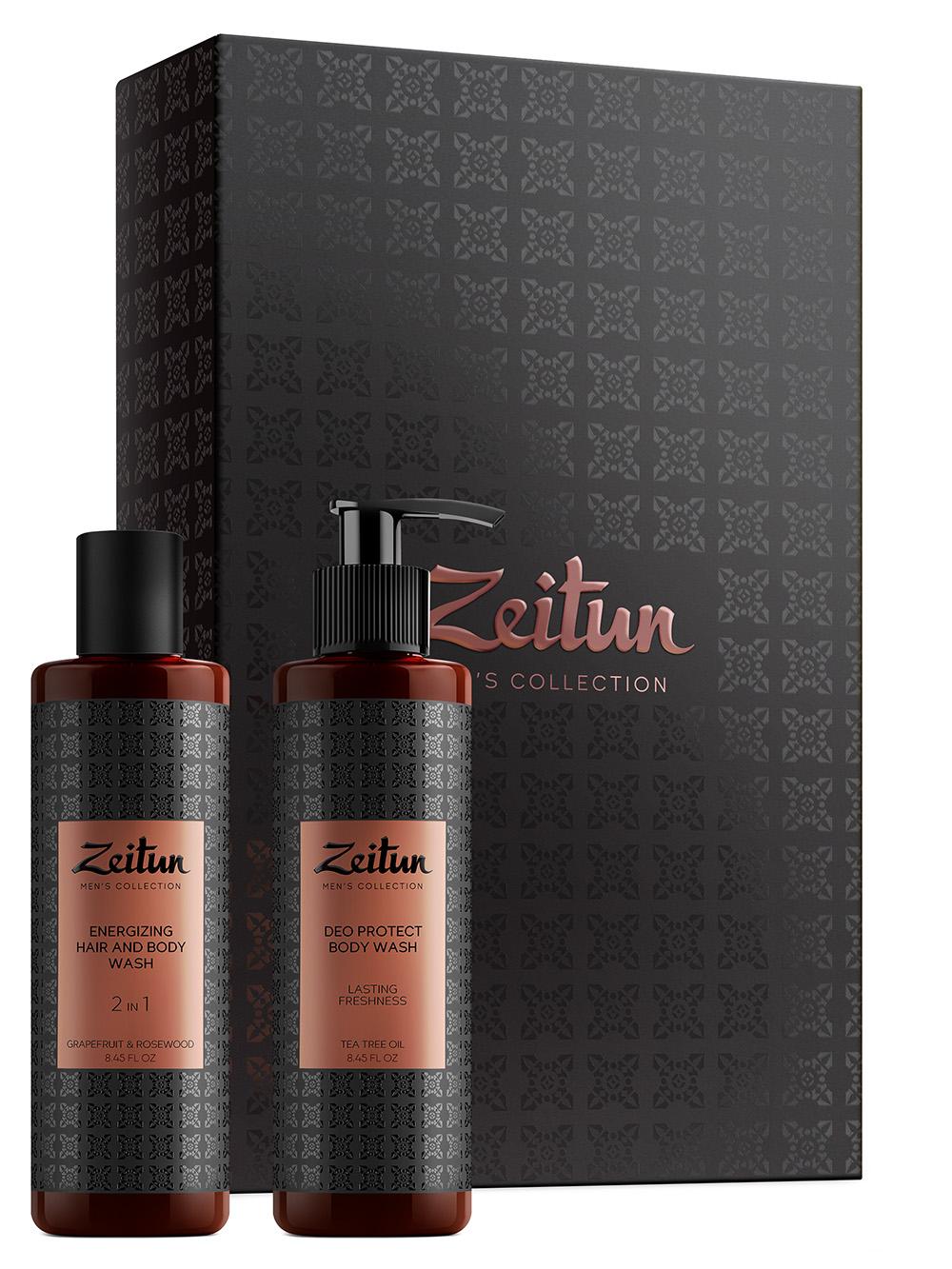 ZEITUN Набор подарочный для мужчин Заряд энергии (фито-шампунь 250 мл, гель для душа 200 мл)