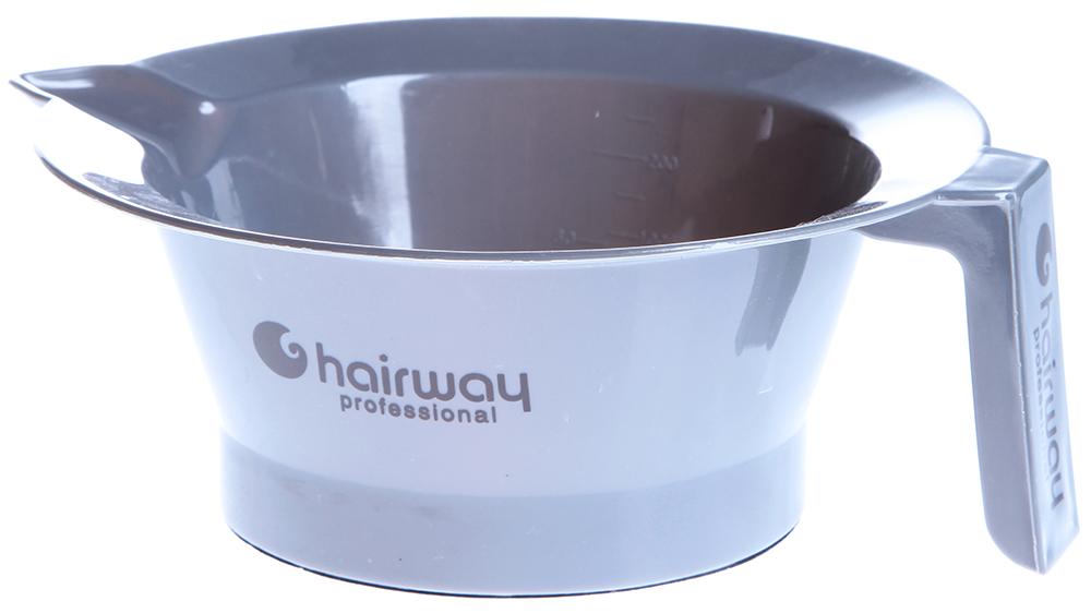 HAIRWAY Чаша для краски с ручкой и резиновым дном 13,5см сереброКосметологические емкости<br>Чаша для краски пластиковая с носиком и ручкой.   Дно чаши с резинкой против скольжения. Диаметр: 13,5 см. Цвет: серебро.<br>