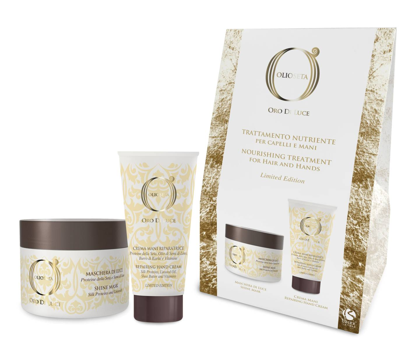 BAREX Набор Питательный уход для волос и кожи рук (маска-блеск 200 мл, крем для рук 75 мл) Oro Di Luce